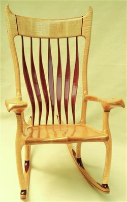 This Tiger Maple And Purple Heart Rocking Chair Was Sculpted For A Man Who  Lives Life Holding The Tiger By The Tail. Finally Retired At 77... Kind Of.