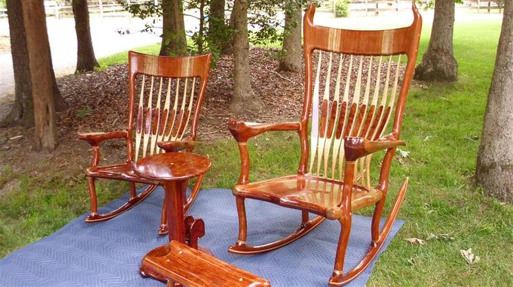 Bubinga Rocking Chairs With Snack Table And Rocking Foot Stool